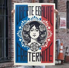 Obey Giant Shepard Fairey Liberte Egalite Fraternite Print Poster 24x36 Signed