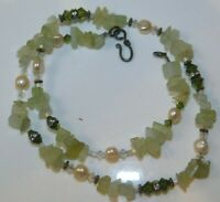 """Green Quartz Pearl and Faceted Crystal Rhinestone Bead Strand 18"""" Necklace 8j 35"""