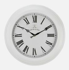White Station Roman Numerals Wall Clock 40cm Vintage Kitchen Shabby Chic