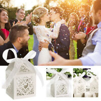 50pcs Wedding Party Favour Cut Love Heart Bird Sweet Cake Gift Candy Boxes BON