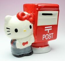 HELLO KITTY Letter Carrier Mailbox Ceramic Money Coin Piggy Bank in Box Japan