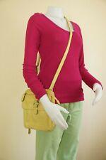 FOSSIL Yellow Leather Crossbody Organizer Messenger Handbag Hippie Boho Purse