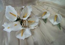 Tropical Beach Wedding Bouquet Silk White Lilies Shells Raffia Bows