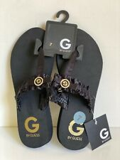 NEW! GUESS DARSY BLACK WEDGES SANDALS SLIPPERS FLIP-FLOPS 7 37 SALE