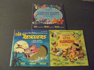 3 Disneyland Book and Record Sleeping Beauty, Little Hiawatha, Rescuers ID:58867