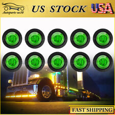 "10Pcs 3/4"" Mini Green LED Clearance Lights Truck Sealed Marker Indicator Lamp"