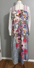 NWT ARATTA Santa Cruz Floral Ruffle Striped Button Down Maxi Shirt Dress S