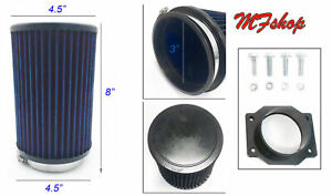 Tall Blue Air Intake Filter + MAF Sensor Adapter For 93-97 Infiniti J30 3.0L