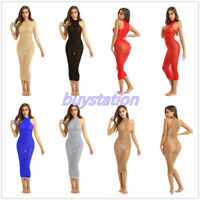 Sexy Women Mesh Sheer Stretchy Midi Bodycon Dress Night Club Party Body Stocking
