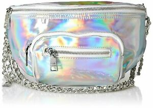 Womens Pouch Patent Iridescent Convertible Belt Bag One Size