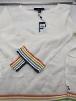 TOMMY HILFIGER LADIES White with Rainbow Rib SWEATER XL