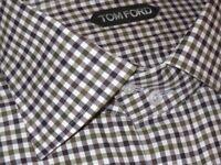 $730 NEW TOM FORD GREEN WHITE BLUE-BLACK CHECK HAND MADE DRESS SHIRT EU 45 17.75