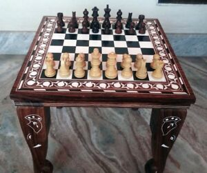 "15"" Chess Board Table Elephant Handmade Inlay Work Square Rosewood Foldable Deco"