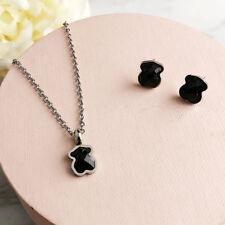 women Stainless steel Black agate Teddy bear 14K gold Necklace Earrings set