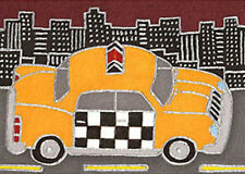 Taxi by David Venee 9x12 inch on Zweigart Needlepoint Canvas ready to finish