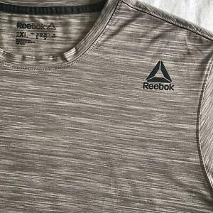 REEBOK Mens Running T-Shirt Heather Desert Brown Crew Neck Athletic Tee Sz XXL