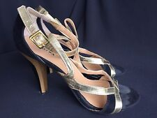 MISS ME STRAPPY HEELS SIZE 8 BLACK SUEDE WITH GOLD STRAPS