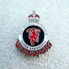 Manchester United REMEMBRANCE Poppy Pin Badge MUFC Reds Old Trafford Busby
