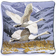 SWANS NEEDLEPOINT CUSHION COVER / New Craft Stitched Home Tapestry Pillow Gift