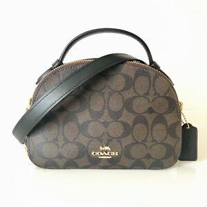 Coach Serena Satchel Crossbody Purse Brown Black Signature Leather NWT $328