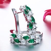 1Pair Beautiful 925 Silver Big Circle Hoop Earrings Women Wedding Party Ear Clip