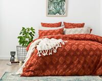 Park Avenue Medallion cotton Vintage washed Tufted Quilt Cover Set Auburn