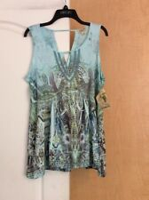 New One World-Light Blue/Multi Color/printed/lace Women Top Plus 1X(runs Small)