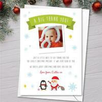Personalised Boys Girls Childrens Christmas Thank You Notes / Cards photo santa