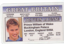 Prince William of Wales novelty collectors card Drivers License