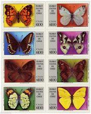 Chile 1994 #1677-84 Flora y Fauna Mariposas MNH