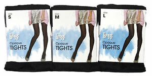 L'eggs Tights Opaque Black Small Medium OR Large/Queen 6 Pairs