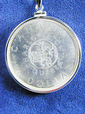 1209 Canadian 1964 Silver Dollar Coin Pendant Necklace, Coin is removable