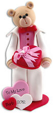 Personalized Belly Bear Boy Valentine Figurine Handmade Polymer Clay by Deb & Co