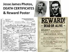 Jesse James Gang DEATH CERTIFICATE Lot + PHOTOS, WILD WEST Historical Documents