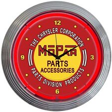 neon clock sign Mopar Chrysler Parts Service Accesories Man cave Mechanic gift