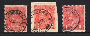 Queensland 3 x KGV all have postmarks starting with G