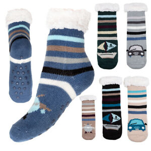 Boys Winter Patterned Kids Socks Thick Warm Fur Lined Non Slip Slippers DN606