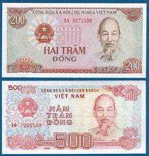 VIETNAM / VIET-NAM 200 + 500 Dong 1987/88 UNC P.100 / 101