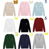 Sailor Moon Knitted Sweater Rilakkuma Relax Bear Japanese JK  Uniform Cardigan