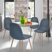 Set of 4 Chairs Retro Home Kitchen Dining Room Fabric Padded Chairs in Blue