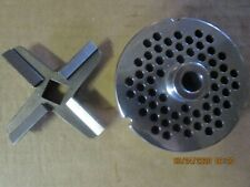 """HOLLYMATIC #32 GRINDER PLATE 1/4"""" HOLES 5/8 THICK W/ HARD EDGE KNIFE"""
