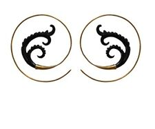 New Spiral Brass Horn Earring Pair Tribal Hoops Unique Black Women Gold Handmade