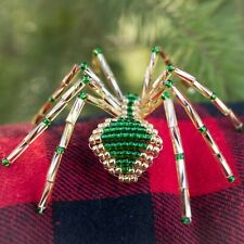 Christmas Spider Ornament, Gold & Green, Includes Chrismas Spider Legend
