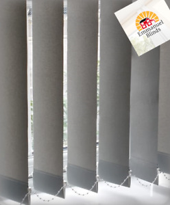 Plain Grey non blackout vertical blinds made to measure sizes up to 4mtrs