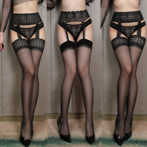 Sexy Stocking Lace Thigh High Stockings + Garter Belt Lingerie Women's Pantyhose