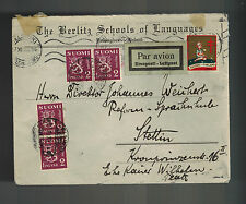 1933 Helsinki Finland cover to Stettin Germany Berlitz Language School Christmas