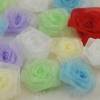 20pc Organza Ribbon W//leaf Rose Flowers Party Crafts Gift Wedding Appliques B117