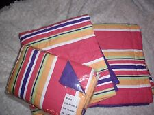 NEW pair of standard pillow shams purple fushia white lime tangerine stripe