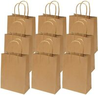 Recycled Kraft Brown Paper Bags Twisted Strong Handle Party Total 50 Bag 2 sizes