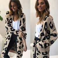 Womens Knitted Long Sleeve Leopard Cardigan Ladies Open Front Autumn Sweater NEW